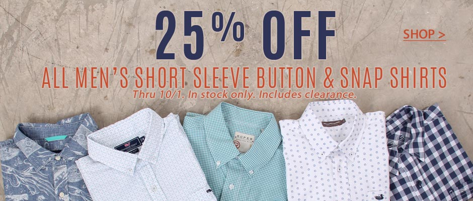 25% OFF Men's short sleeve button and snap shirts