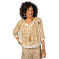 Ivy Jane Women's Ivory and Mustard Drawstring Top