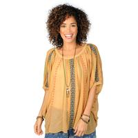 Ivy Jane Women's Mustard Embroidered Peasant Top
