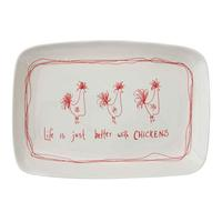 Creative Co-Op Stoneware Chickens Serving Platter