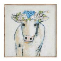 Creative Co-Op Cow and Flowers Wall Art