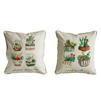 Creative Co-Op Potted Cacti Pillow