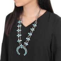 Genuine Turquoise and Silver Squash Blossom Necklace