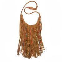Kobler Beaded Fringe Leather Gypsy Bag