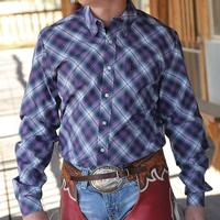 Cinch Men's Purple Diagonal Plaid Shirt