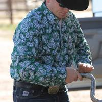 Cinch Men's Green and White Floral Print Shirt