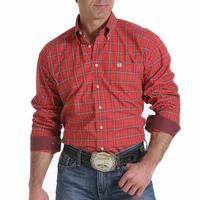 Cinch Men's Red, Black and White Plaid Shirt