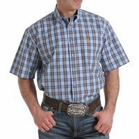 Cinch Men's Light Blue and Grey Plaid Shirt