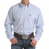 Cinch Men's Blue and White Square Plaid Shirt
