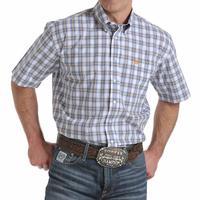 Cinch Men's Blue, White, and Gold Shirt Sleeved Shirt