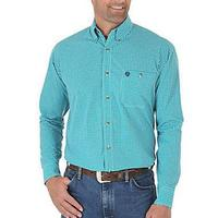 Wrangler Men's Blue-Green and White Diamond Print Shirt