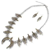Silver and Gold Feather Squash Blossom Necklace