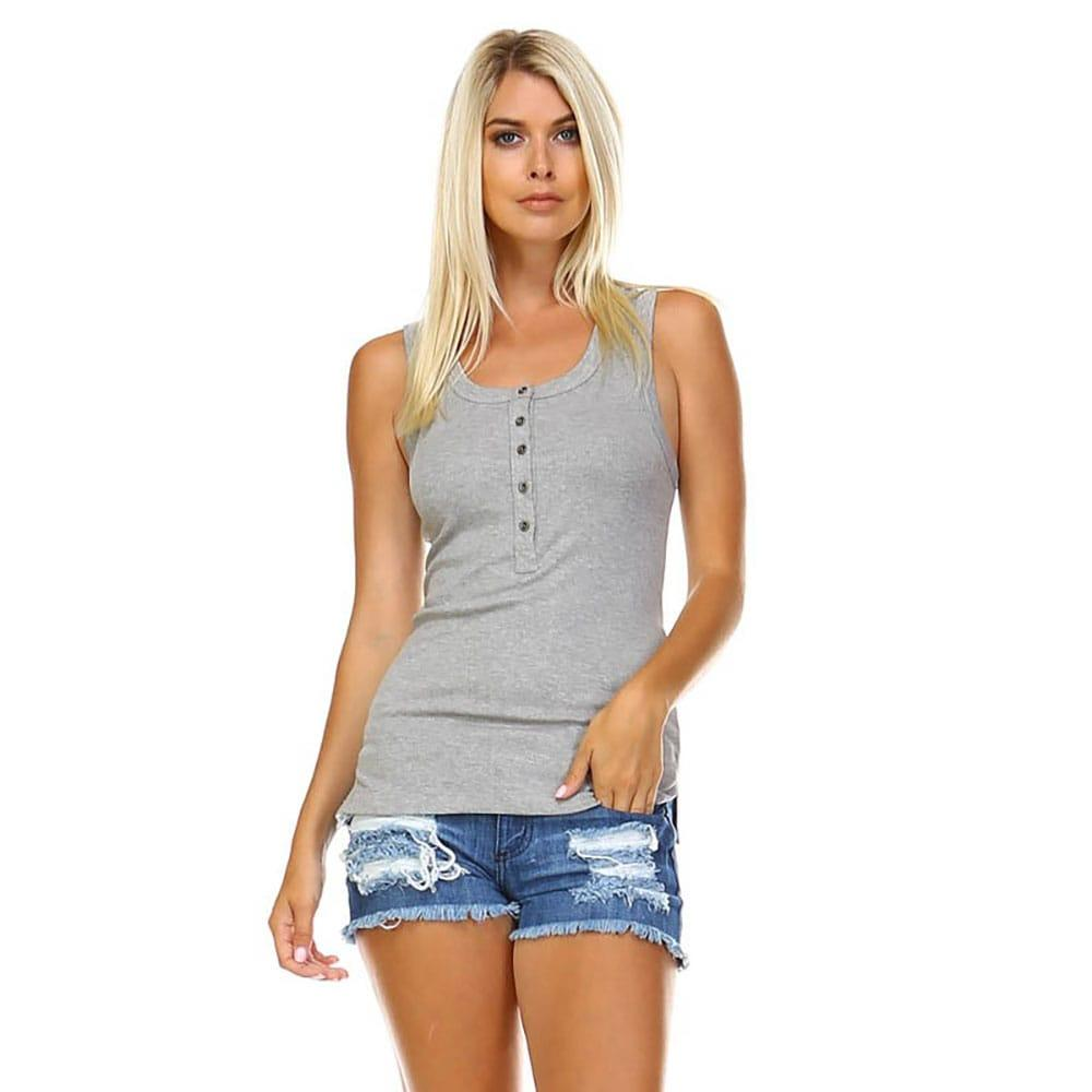 12724f81284a5 Corner Women s Button Ribbed Tank Top Item   T2553