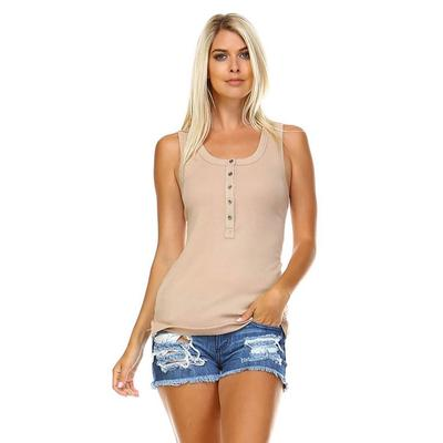 Corner Women's Button Ribbed Tank Top TAUPE