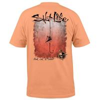 Salt Life Men's Sort Sleeve Grapefruit Hook Line & Sinker Fade Tee