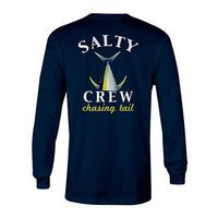 Salty Crew Men's Long Sleeve Navy Chasing Tail Fish Tech Shirt