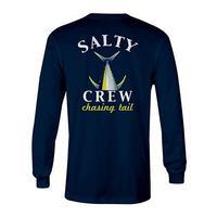 Salty Crew Men's Long Sleeve Navy Chasing Tail Fish Tech Shirt