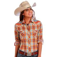 Panhandle Slim Ladies Long Sleeve Roll tab and Front Embroidery Shirt