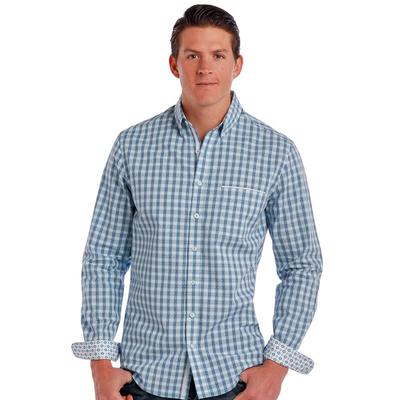 Panhandle Slim Men's Long Sleeve Rough Stock Blue Plaid Button Down Shirt