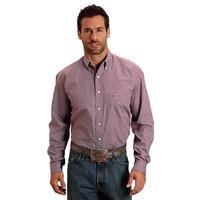 Stetson Men's Long Sleeve Wine Button Shirt