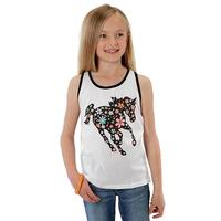 Roper Girl's Tank with Floral Horse Print
