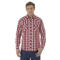 Wrangler Men's Fashion Snap Red and White Plaid Long Sleeve Shirt