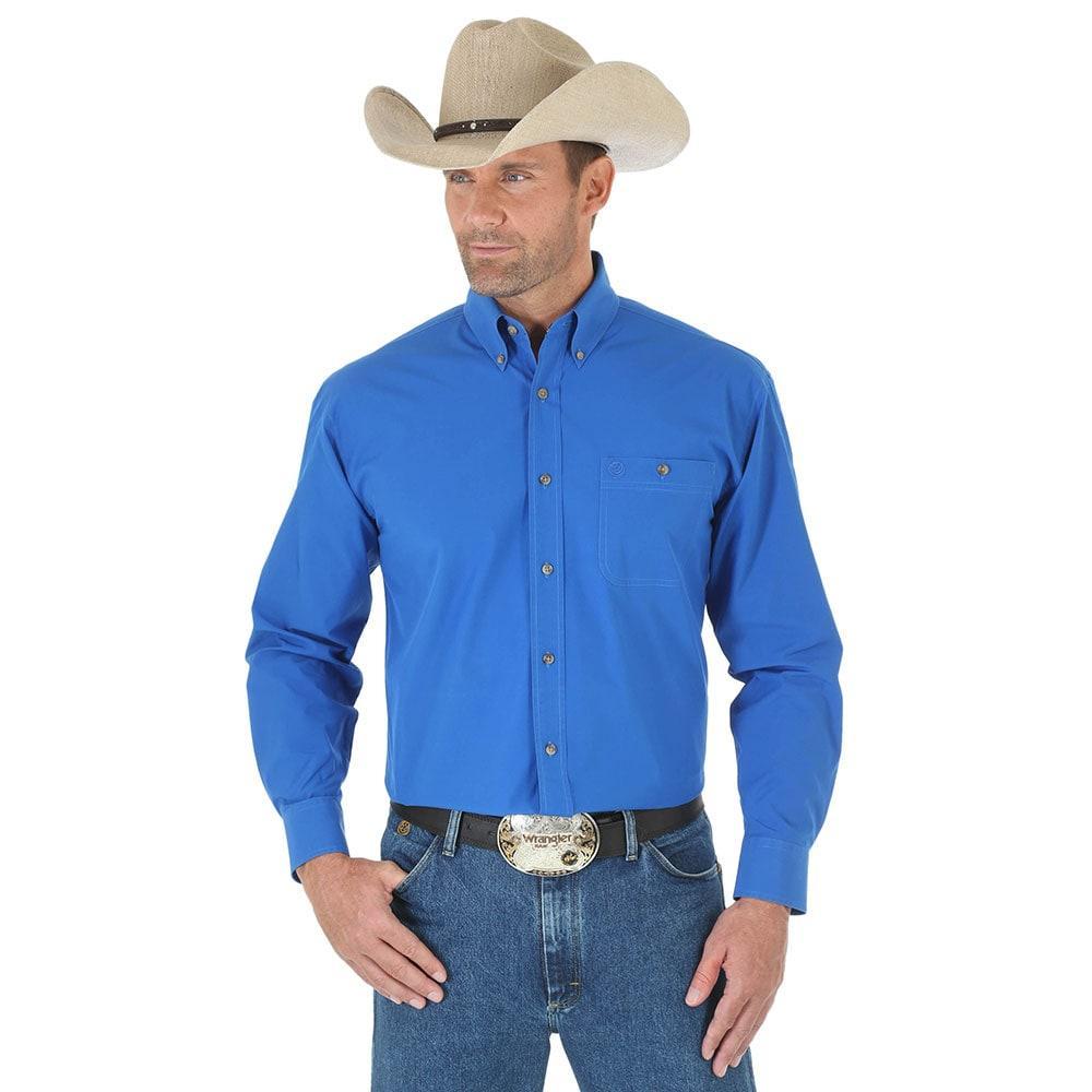 Wrangler Men's Royal Blue Long Sleeve One Pocket George Strait ...