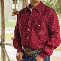 Cinch Men's Red Geometric Snap Shirt