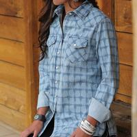 Cruel Girl Women's Printed Chambray Snap Shirt