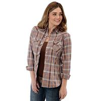 Roper Women's Long Sleeve Orange Plaid Snap Shirt