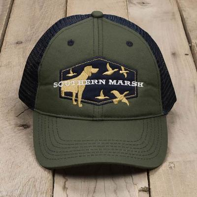 Southern Marsh Men's Hunting Dog Trucker Cap DKOLIVE