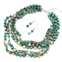 Stone and Crystal Multi-Strand Necklace