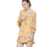 En Creme Women's Floral Mustard Shirt