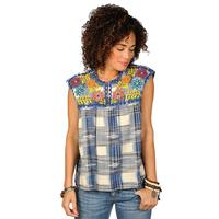Ivy Jane Women's Embroidered Blue Plaid Top