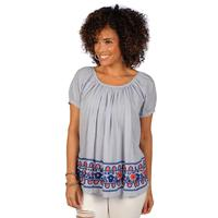 Ivy Jane Women's Red and Blue Embroidered Peasant Top