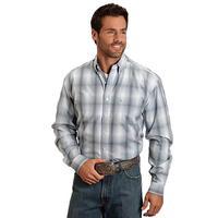 Stetson Men's Long Sleeve Gray Plaid Button Down Shirt