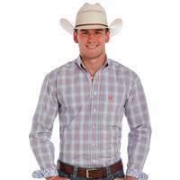 Panhandle Slim Men's Long Sleeve Orange and Blue Shirt