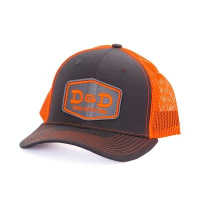D&D Texas Outfitters Charcoal Grey and Neon Orange Cap