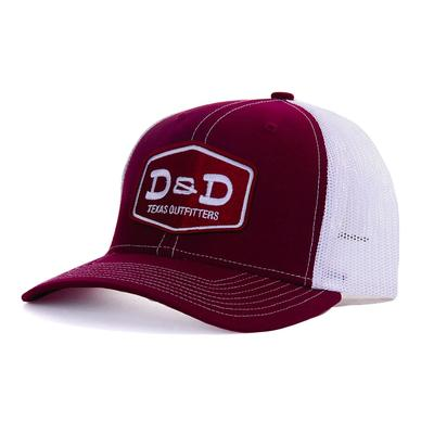 D & D Texas Outfitters Maroon And White Cap