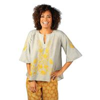 Ivy Jane Women's Black & Ivory with Yellow Embroidery Top