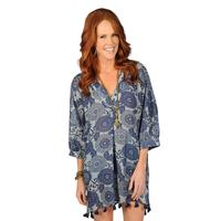 Ivy Jane  Women's Blue Floral Dress With Tassel Hem