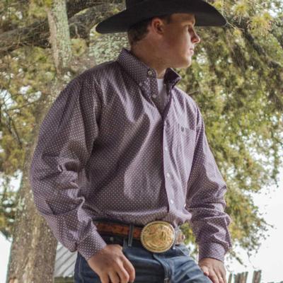 Cinch Men's Long Sleeve Purple Geo Print Button Shirt