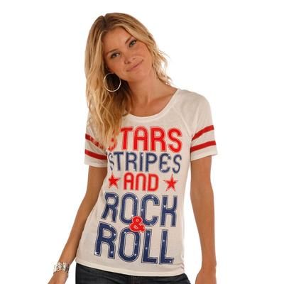 Panhandle Slim Women's Stars & Stripes And Rock & Roll Tee