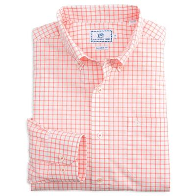 Southern Tide Men's Long Sleeve Tradewind Tattersall Shirt PEACHFIZZ