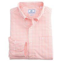 Southern Tide Men's Long Sleeve Tradewind Tattersall Shirt PEACHFIZZ