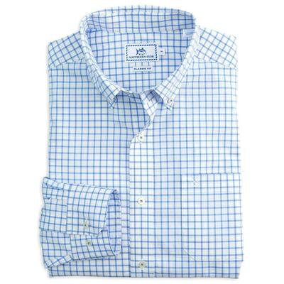 Southern Tide Men's Long Sleeve Tradewind Tattersall Shirt SKYBL