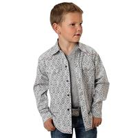 Roper Boy's Long Sleeve Grey Aztec Print Snap Shirt