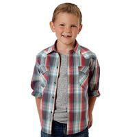 Roper Boy's Long Sleeve Snap Up Plaid Shirt