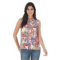 Wrangler Women's Sleeveless Button Hi-Lo Hem Top
