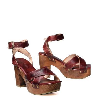 Bedstu Women's Dark Scarlet Rust Kalah Sandals
